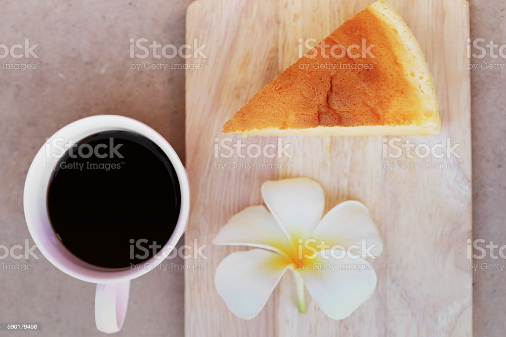 Cup of black coffee and Japanese style Cheesecake, top view. stock photo