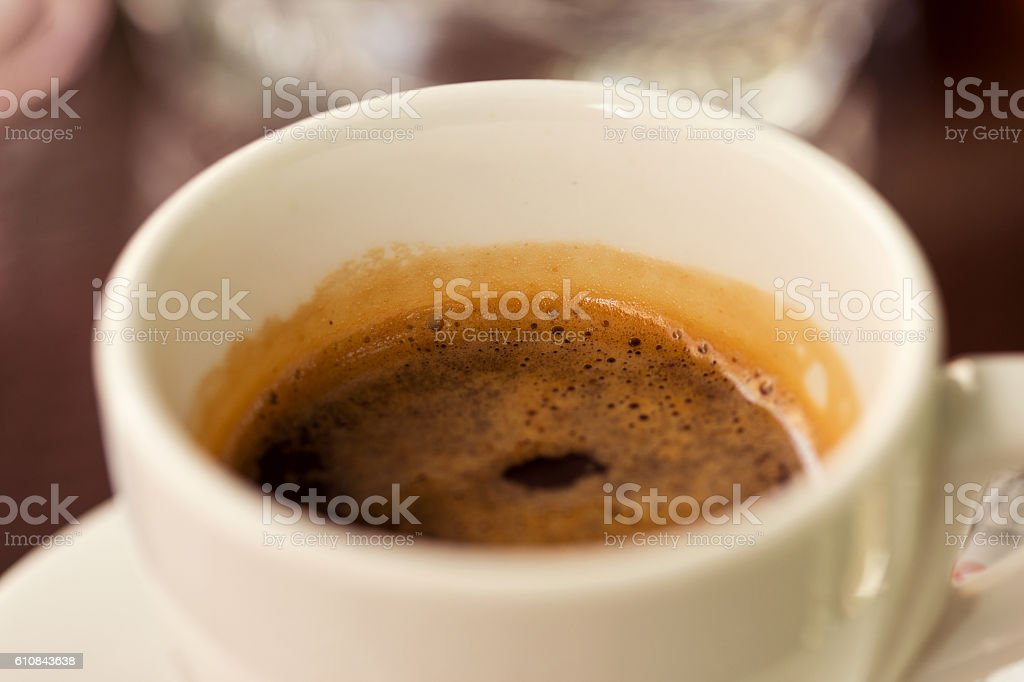 Cup of black coffee close up. Selective focus stock photo