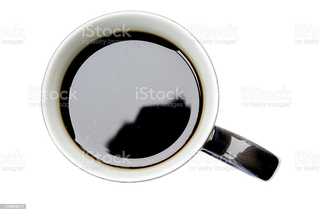 Cup of black coffee view from above isolated royalty-free stock photo