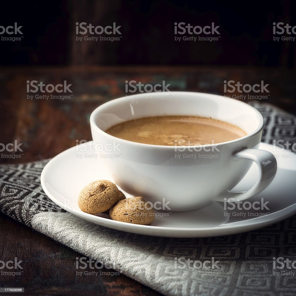Cup of caffè crema with biscotti royalty-free stock photo