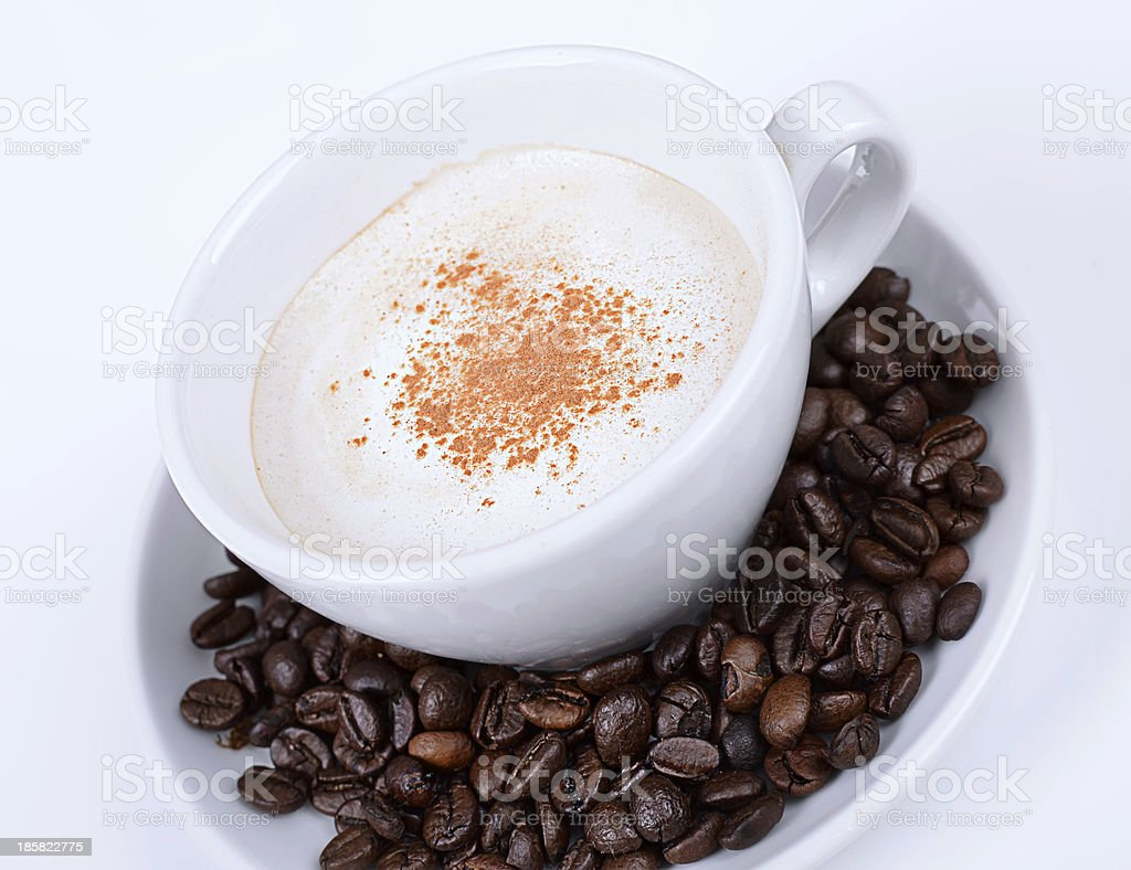 Cup of cappuccino  or espresso coffe in white cup royalty-free stock photo