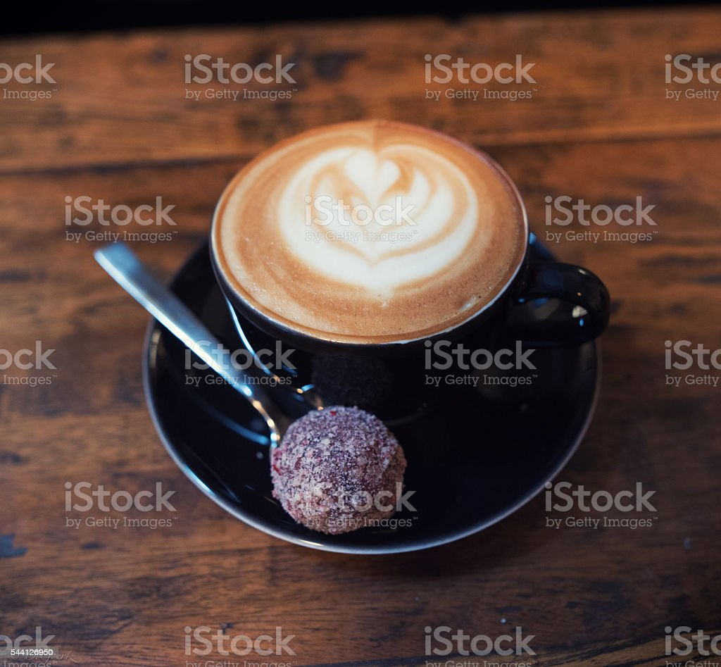 Cup of Cappuccino  with Truffle stock photo