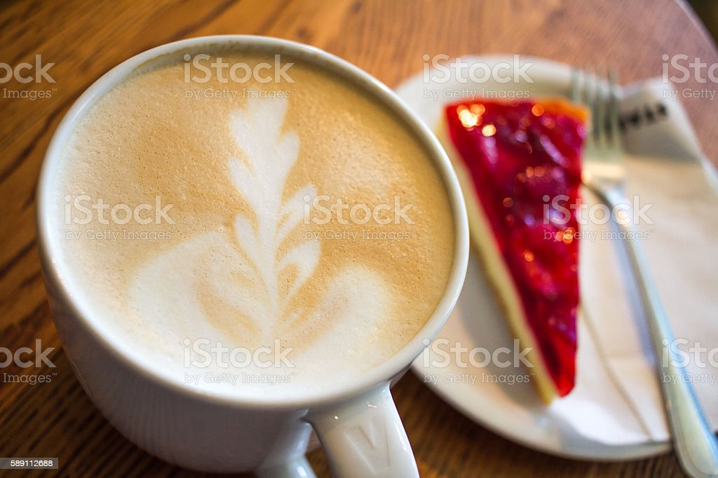 Cup of cappuccino&cheesecake stock photo