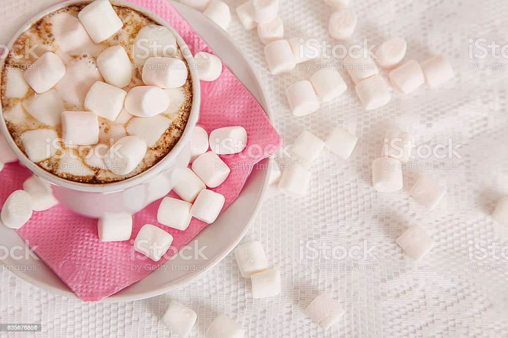 cup of cocao with marshmallow royalty-free stock photo