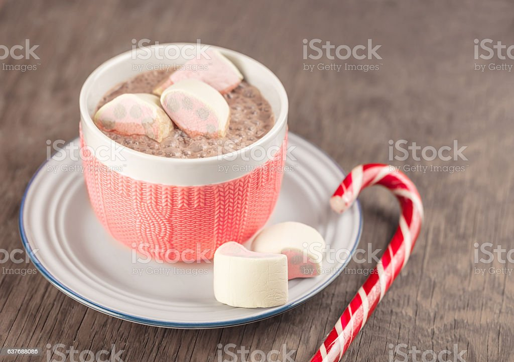 cup of cocoa and marshmallows stock photo