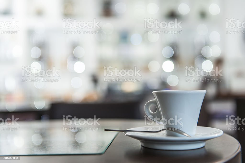 Cup of Coffe and Blurred Coffee Shop Caffe Trieste, Europe stock photo