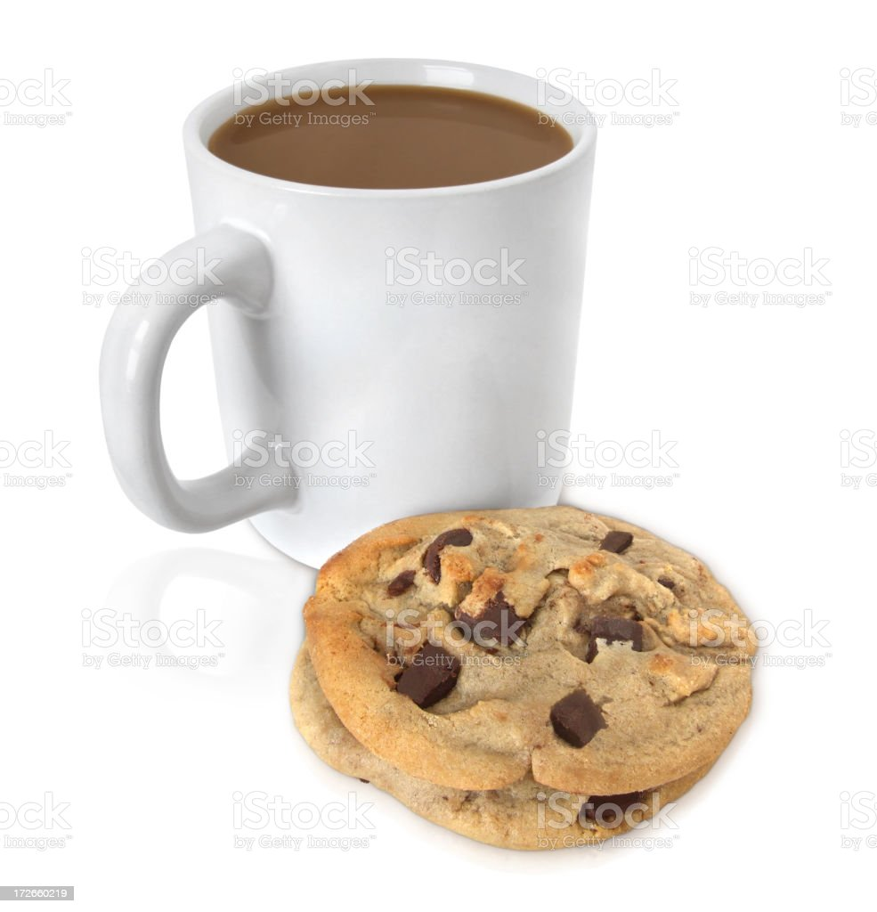 A cup of coffee and a chocolate cookie isolated on white royalty-free stock photo