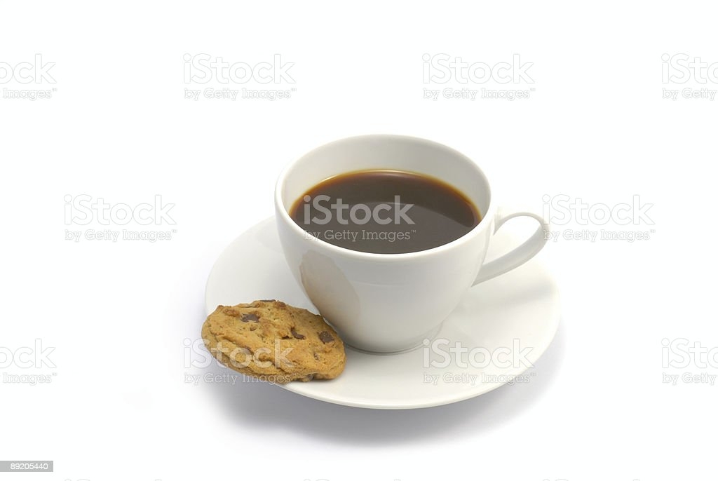 Cup of coffee and a cookie royalty-free stock photo