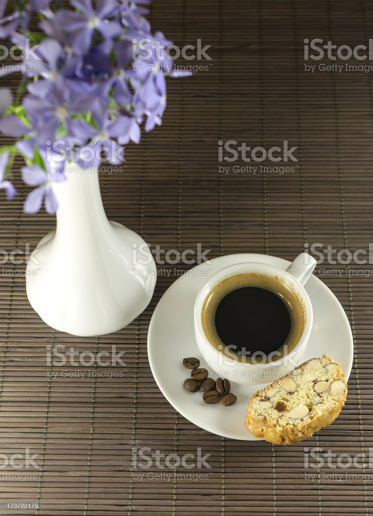 Cup of coffee and biscotti royalty-free stock photo