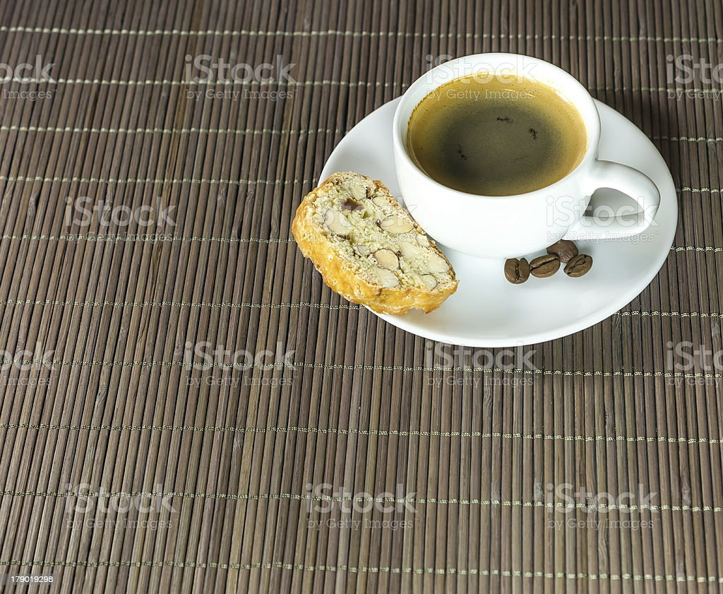 Cup of coffee and biscotti stock photo