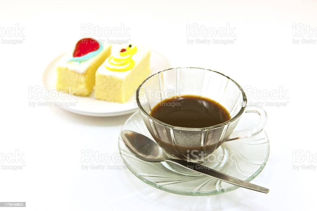 Cup of coffee and cake royalty-free stock photo