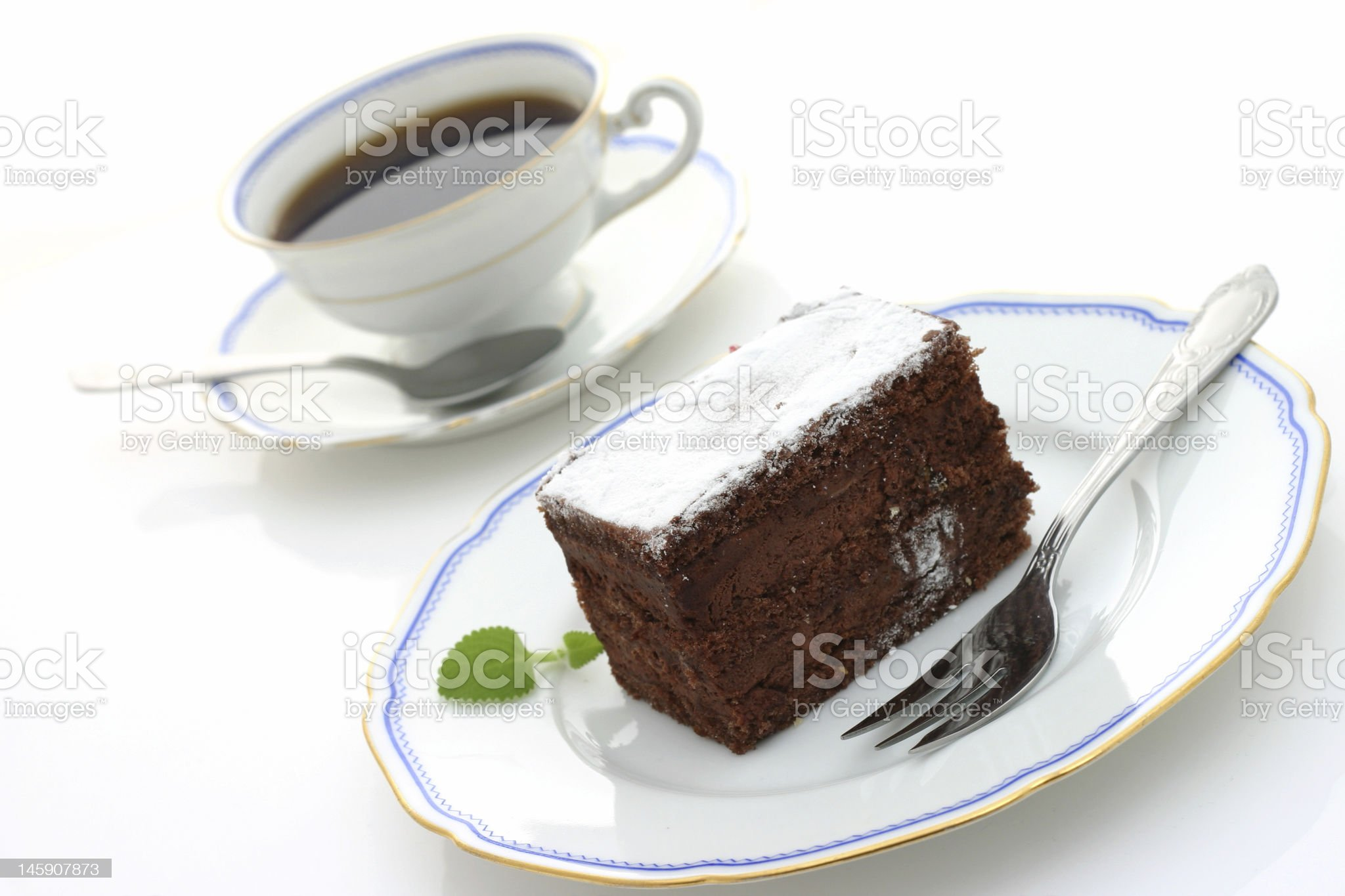 cup of coffee and chocolate cake royalty-free stock photo