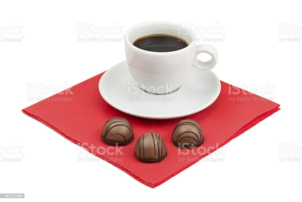 cup of coffee and chocolate candy royalty-free stock photo