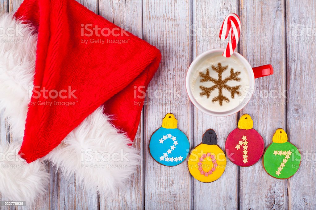 Cup of coffee and christmas gingerbread stock photo