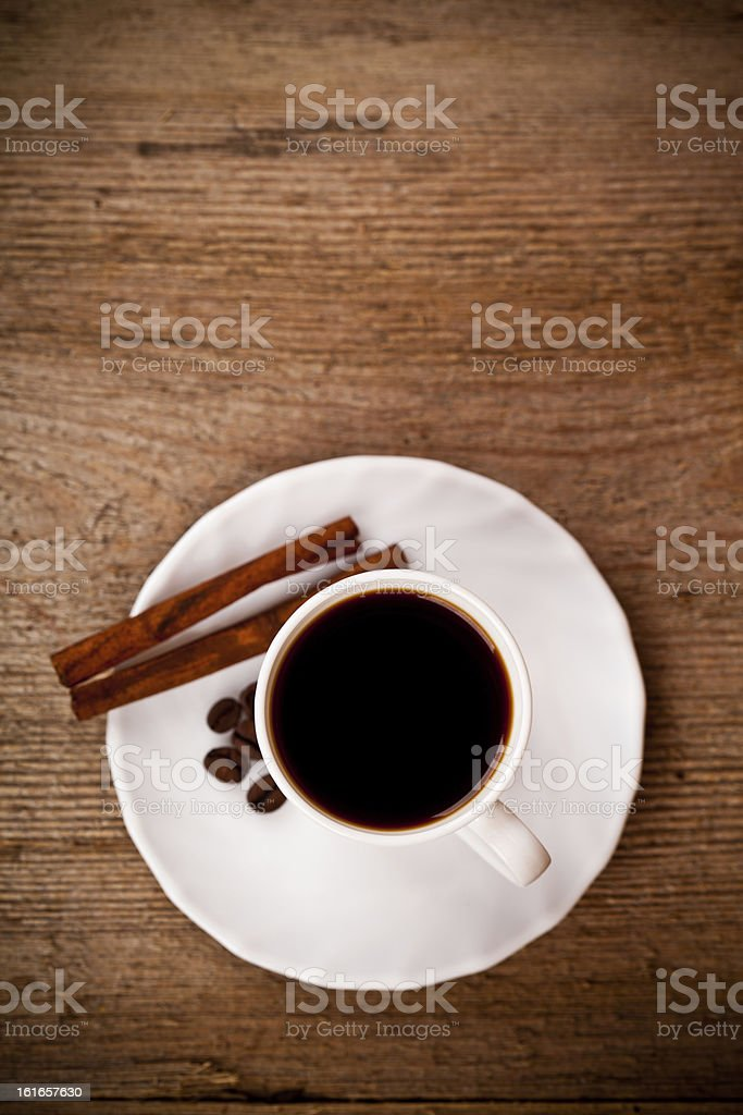 cup of coffee and cinnamon royalty-free stock photo