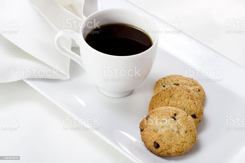 cup of coffee and cookies royalty-free stock photo