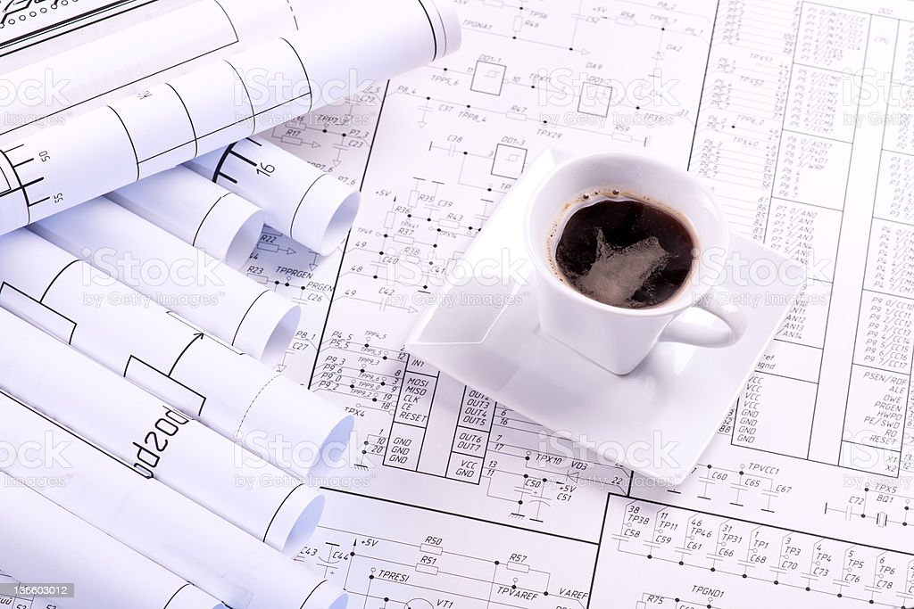 Cup of coffee and detail drawing royalty-free stock photo
