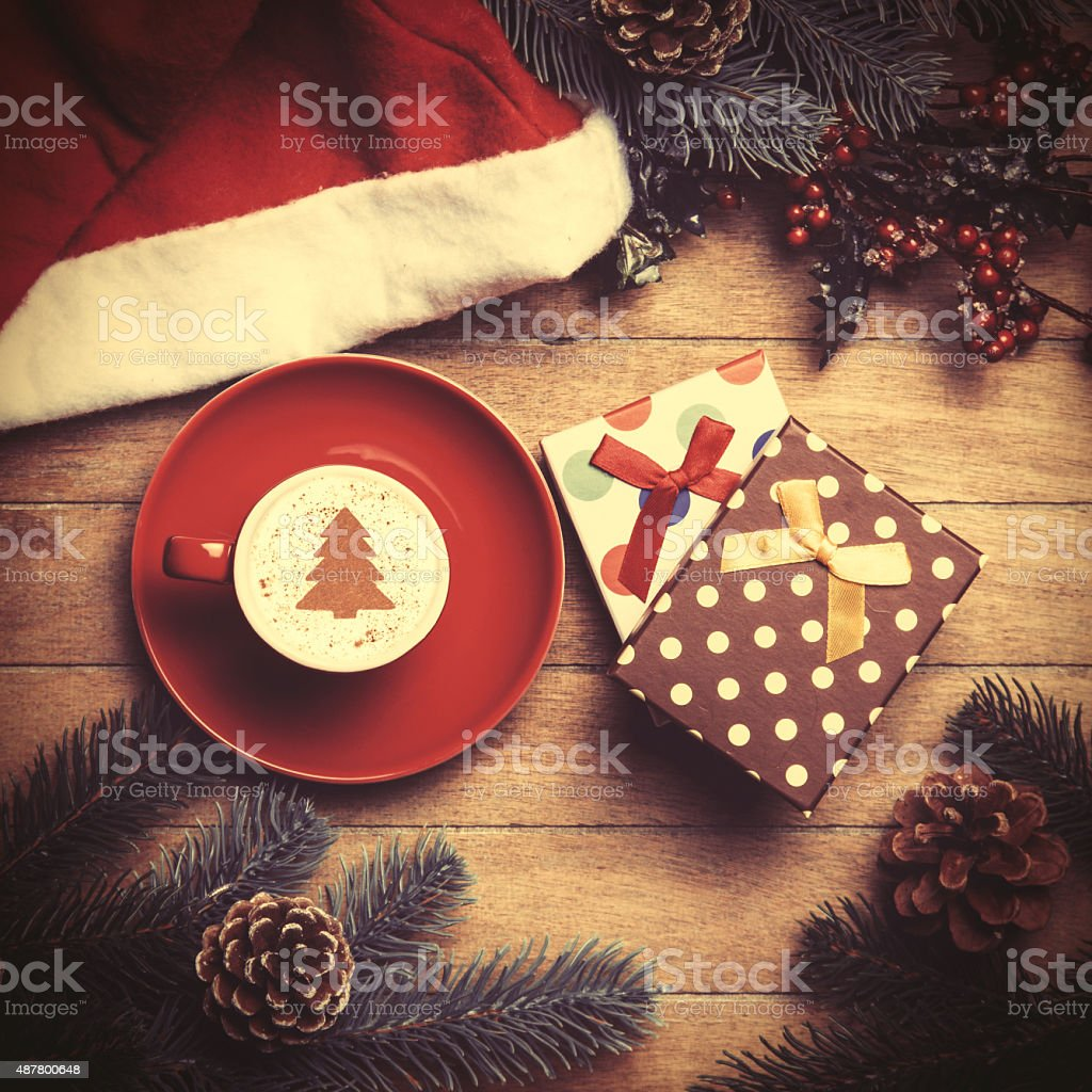 Cup of coffee and gift box stock photo