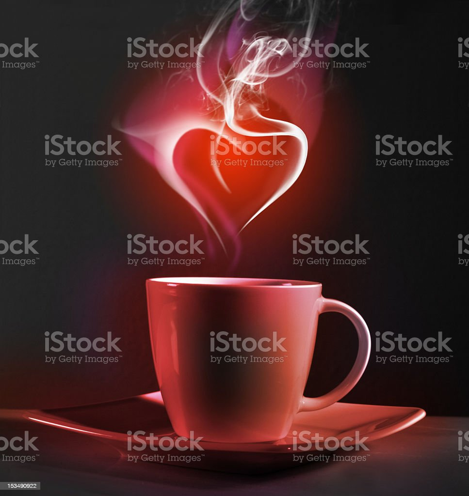 Cup of coffee and heart royalty-free stock photo