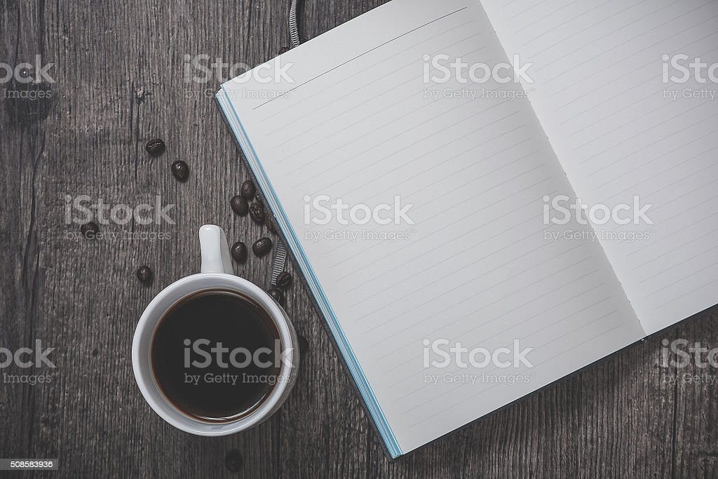 Cup of coffee and note stock photo