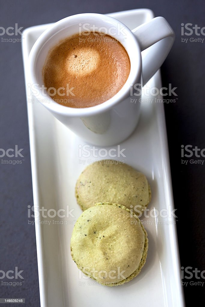 Cup of coffee and pastries stock photo