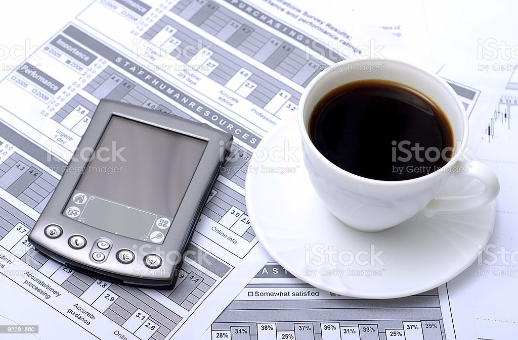 Cup of coffee and pda royalty-free stock photo