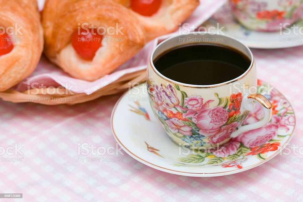 cup of coffee and puffs stock photo