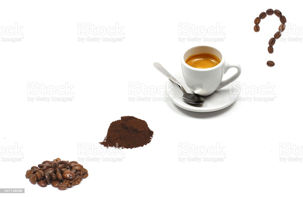 Cup of coffee and roasted coffee beans stock photo