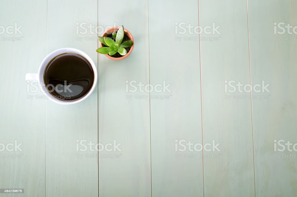 Cup of coffee and small plant stock photo
