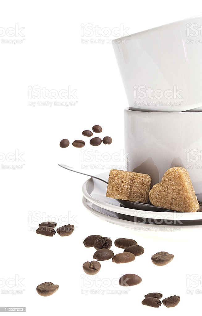 Cup of coffee and sugar isolated on white background. royalty-free stock photo