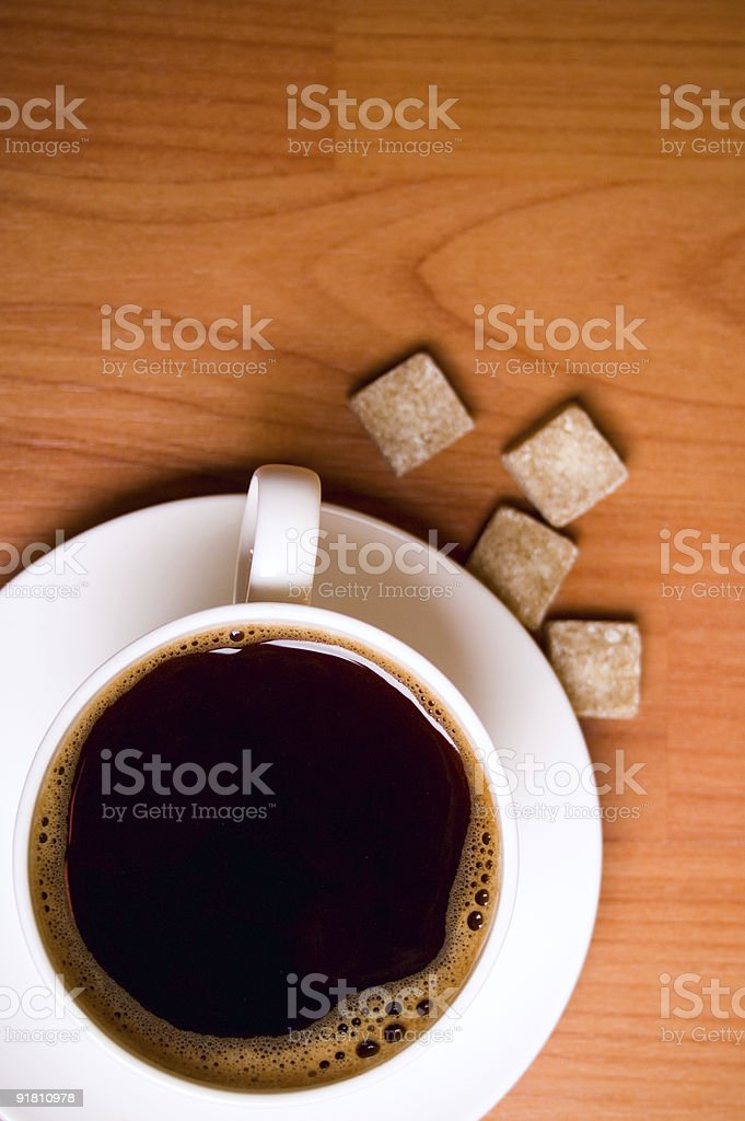 cup of coffee and sugar royalty-free stock photo