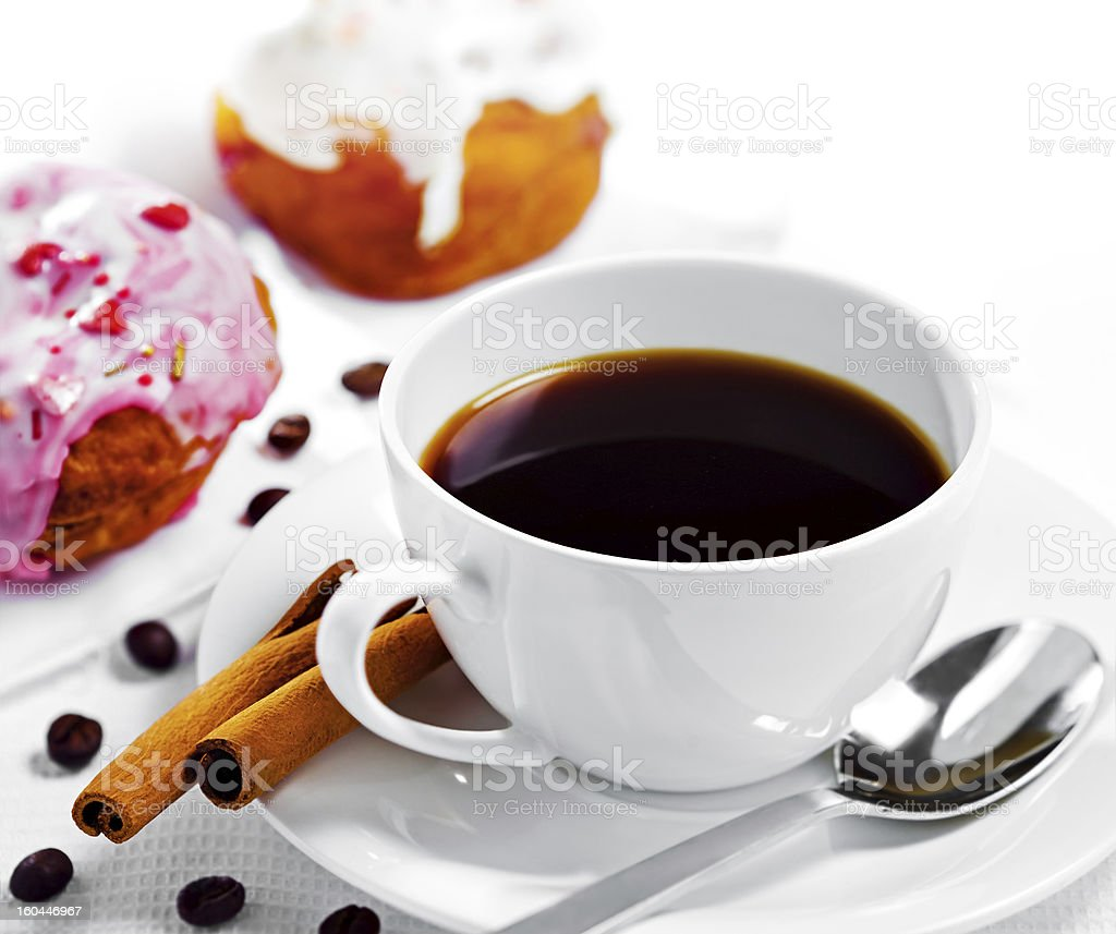 Cup of coffee and sweets royalty-free stock photo