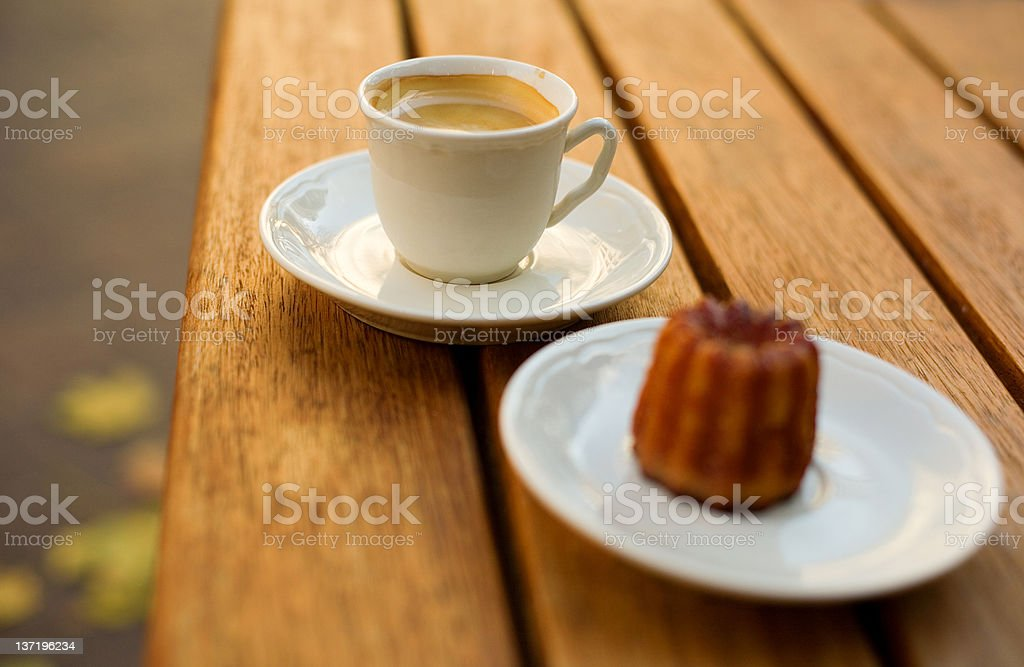 Cup of coffee and tasty dessert royalty-free stock photo