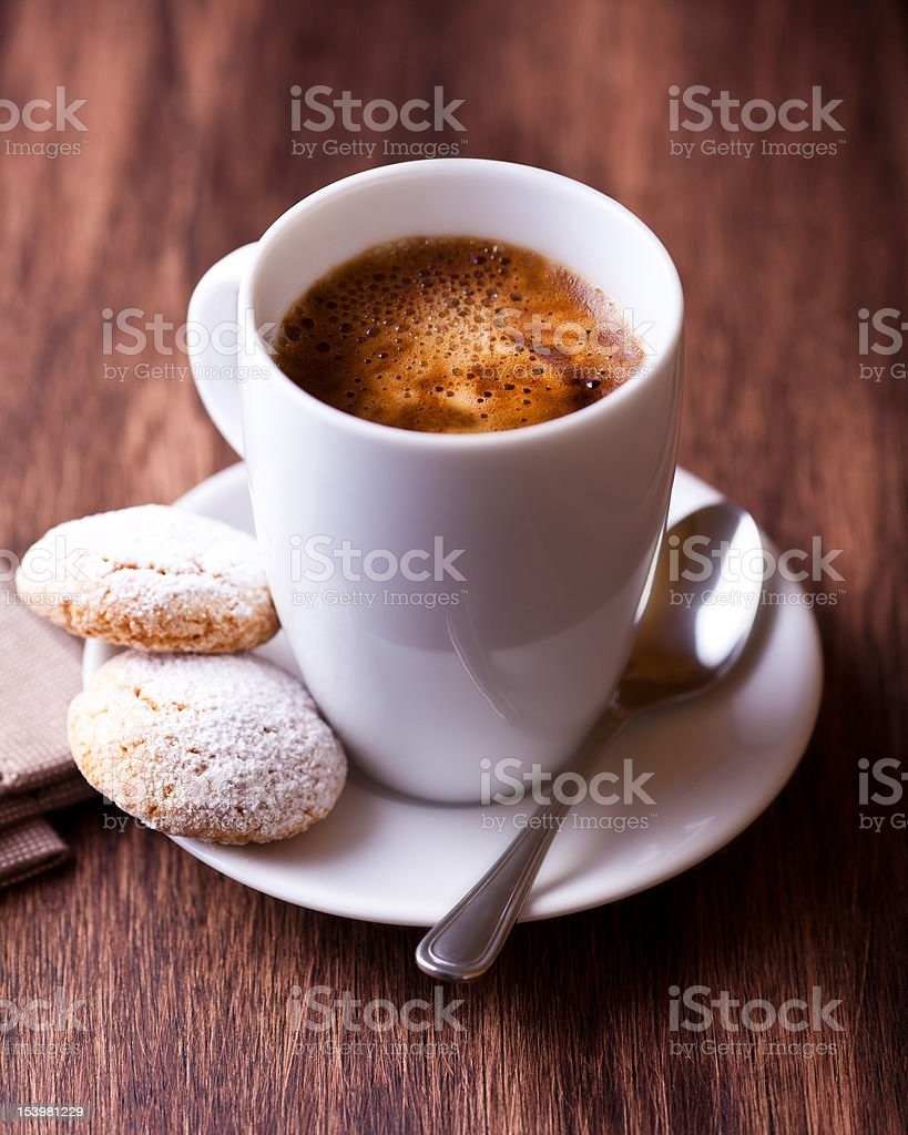 Cup of coffee and two biscotti royalty-free stock photo