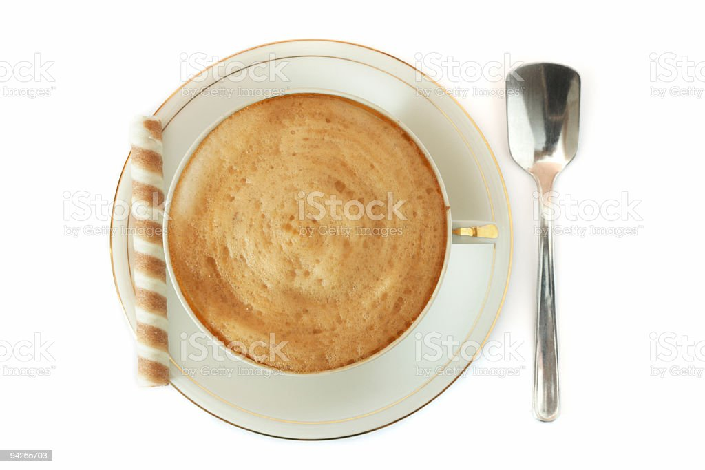 Cup of coffee and wafer roll royalty-free stock photo