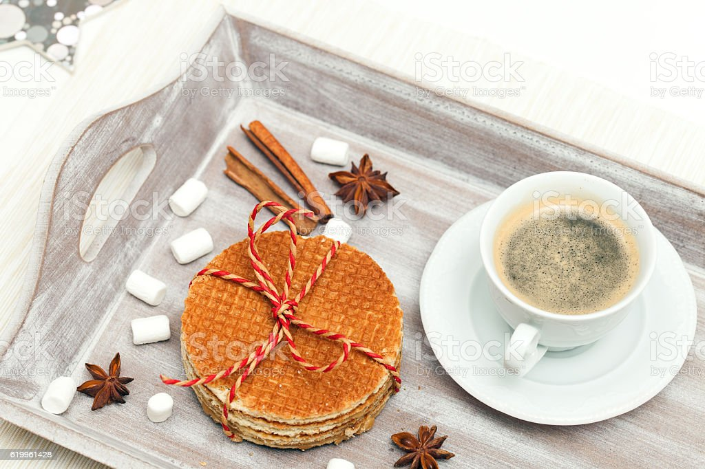 Cup of coffee and waffles stock photo