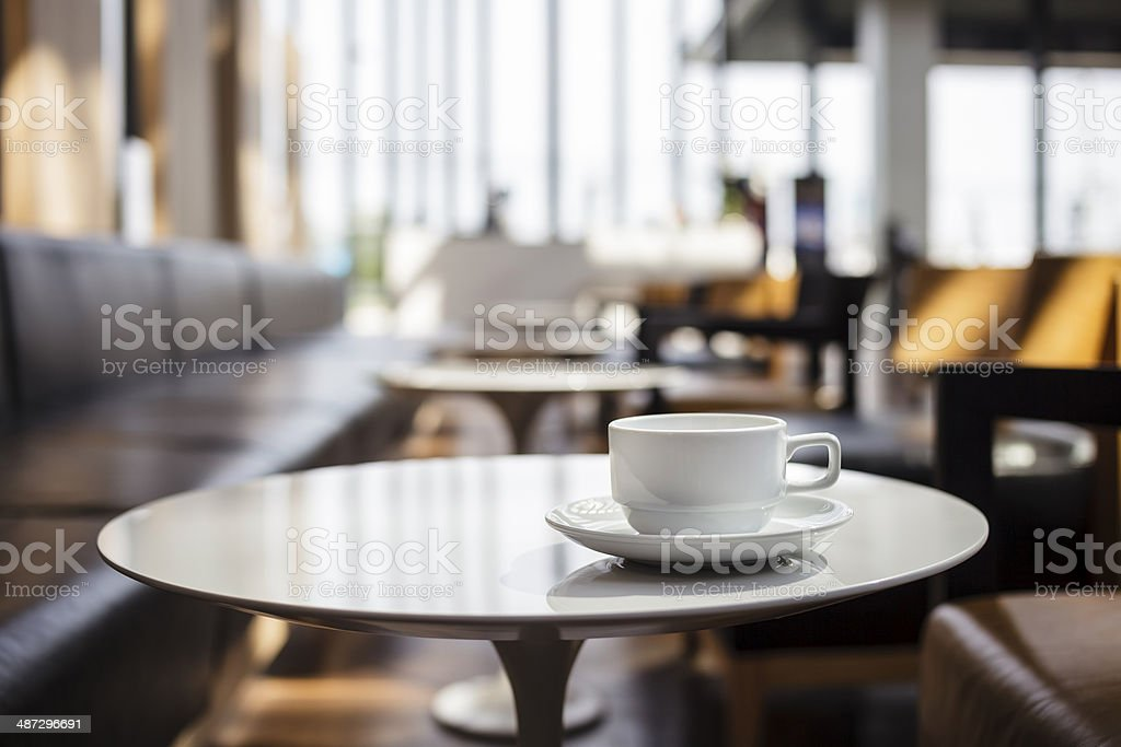 Cup of coffee at coffee shop stock photo