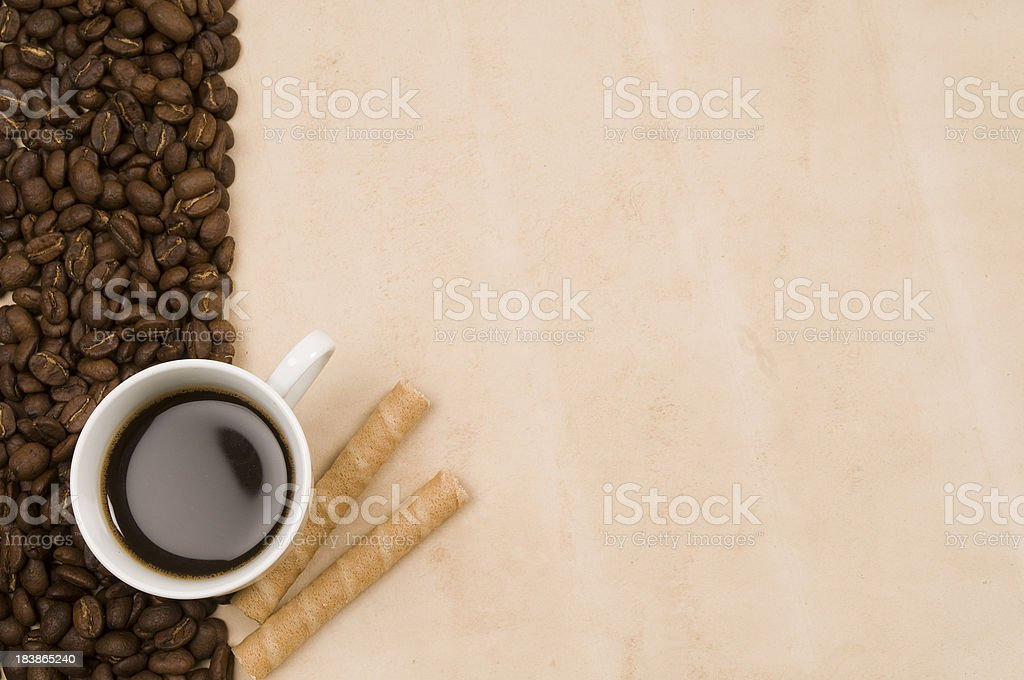 Cup of coffee,  biscuits with background royalty-free stock photo