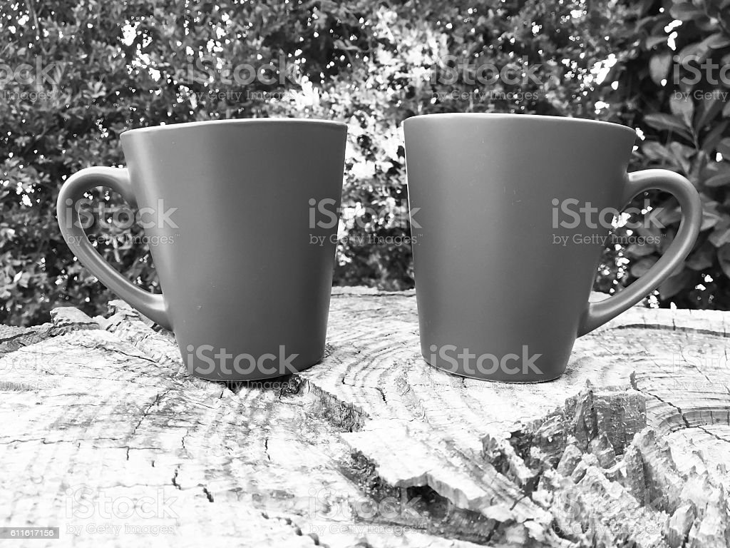 Cup of coffee, black and white photo stock photo