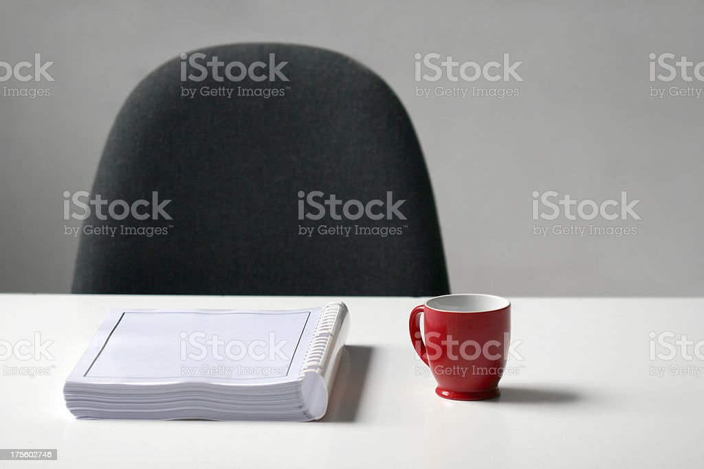 Cup of coffee, book,chair royalty-free stock photo