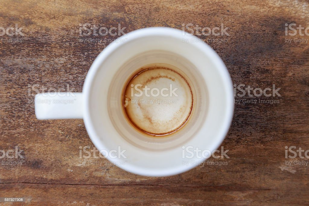 Cup of coffee drying mark in cup stock photo