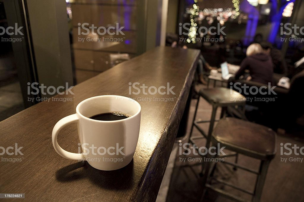 Cup of coffee in a cafeteria royalty-free stock photo