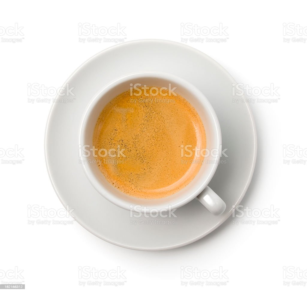 A cup of coffee in a white cup and saucer stock photo