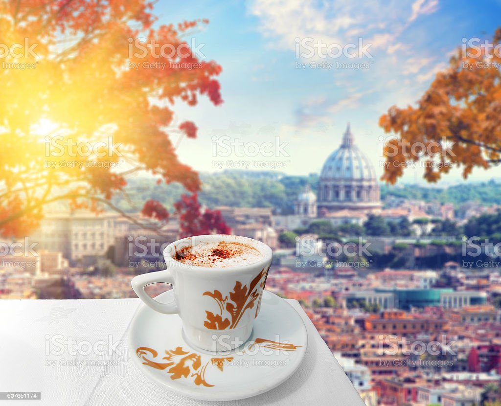Cup of coffee in Rome at fall time stock photo