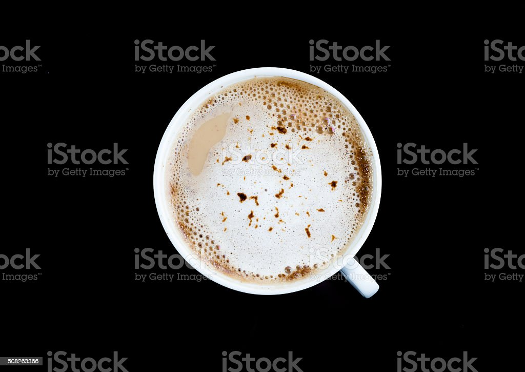 Cup of coffee isolated on a black background. stock photo