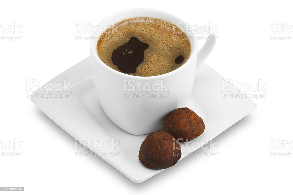 cup of coffee on a square saucer royalty-free stock photo