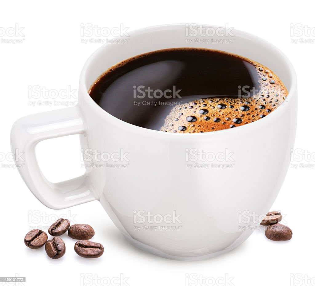 Cup of coffee on a white background. stock photo