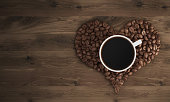 Cup of coffee on coffee heart