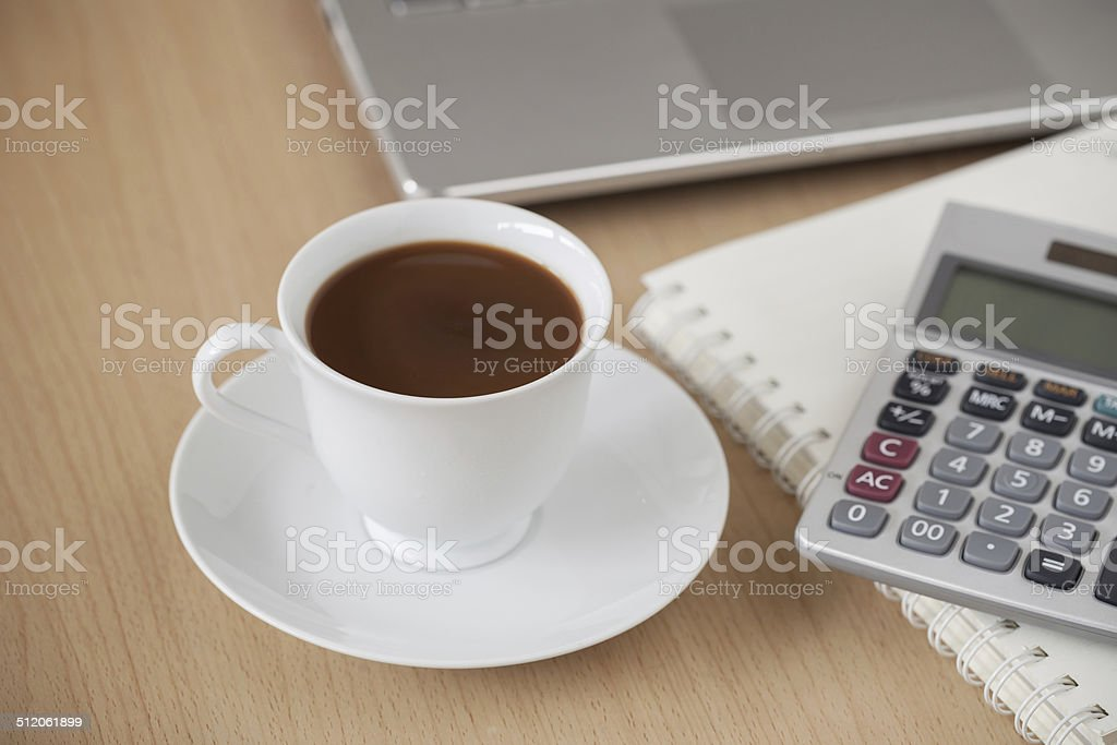 Cup of Coffee On The Desk stock photo