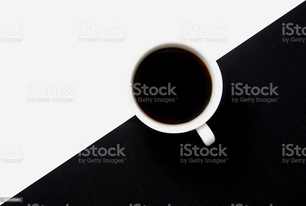 cup of coffee on white and black royalty-free stock photo